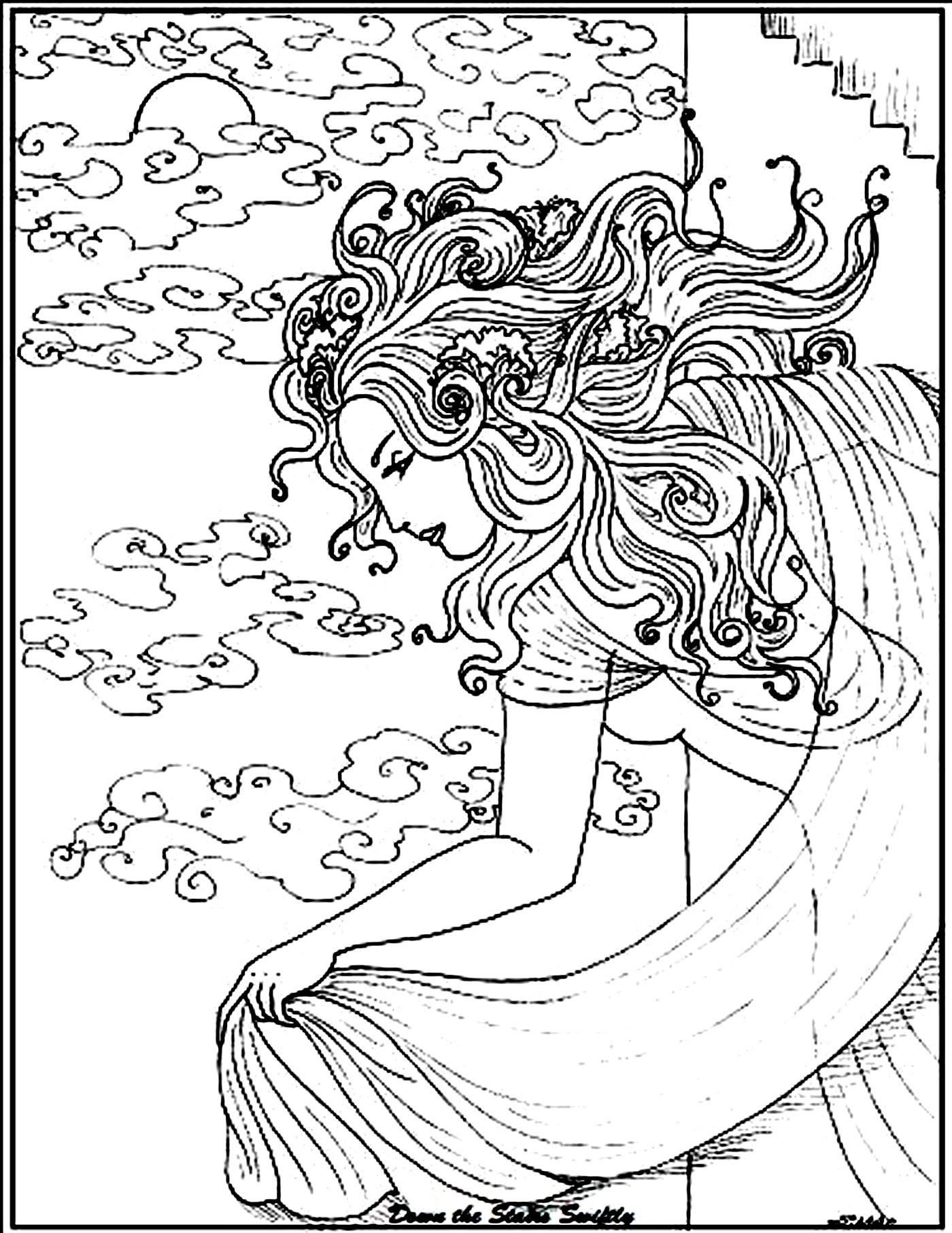 coloring adult woman sea free to print - Turtle Coloring Pages For Adults