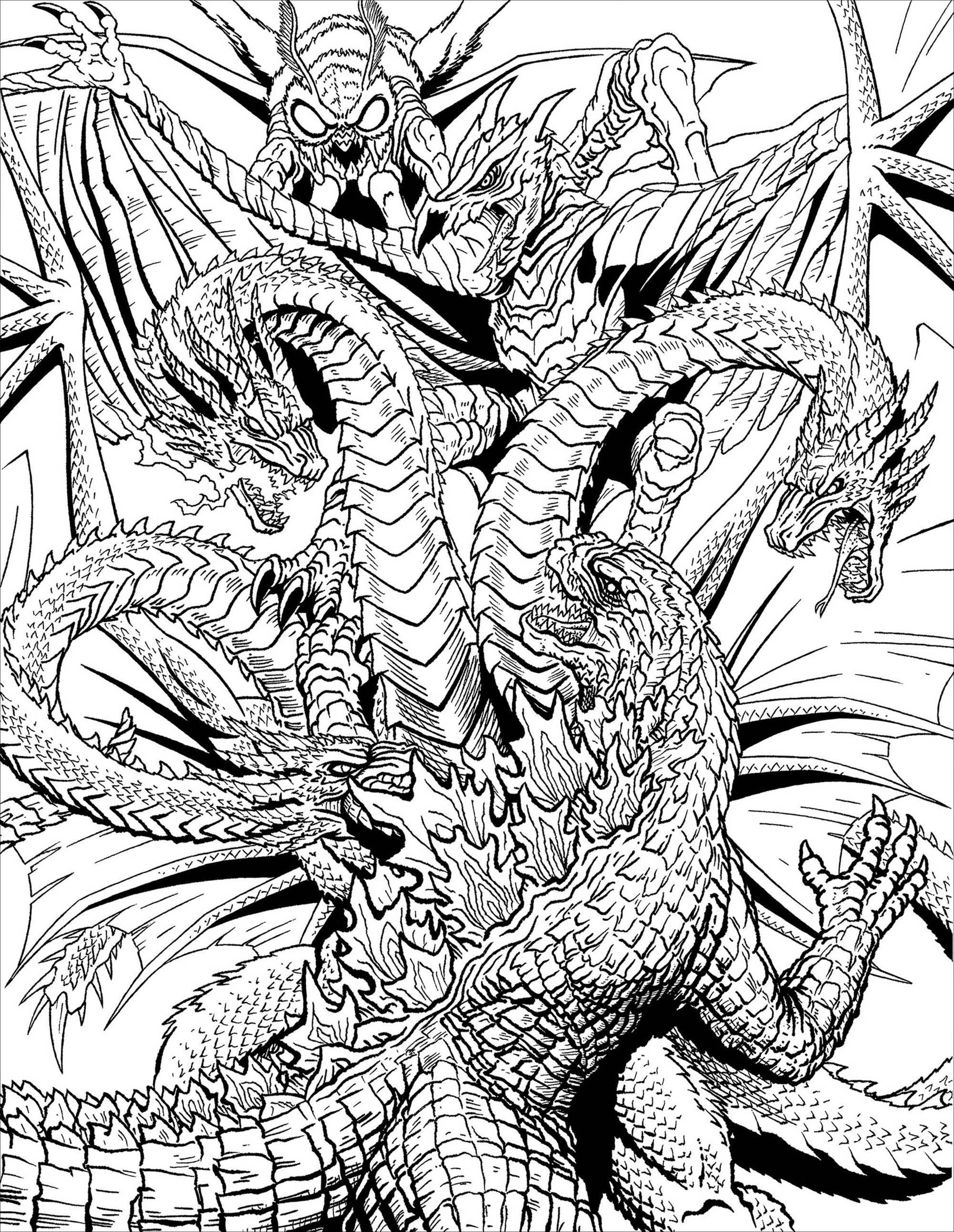 Monster Vs Dragon Myths Legends Adult Coloring Pages