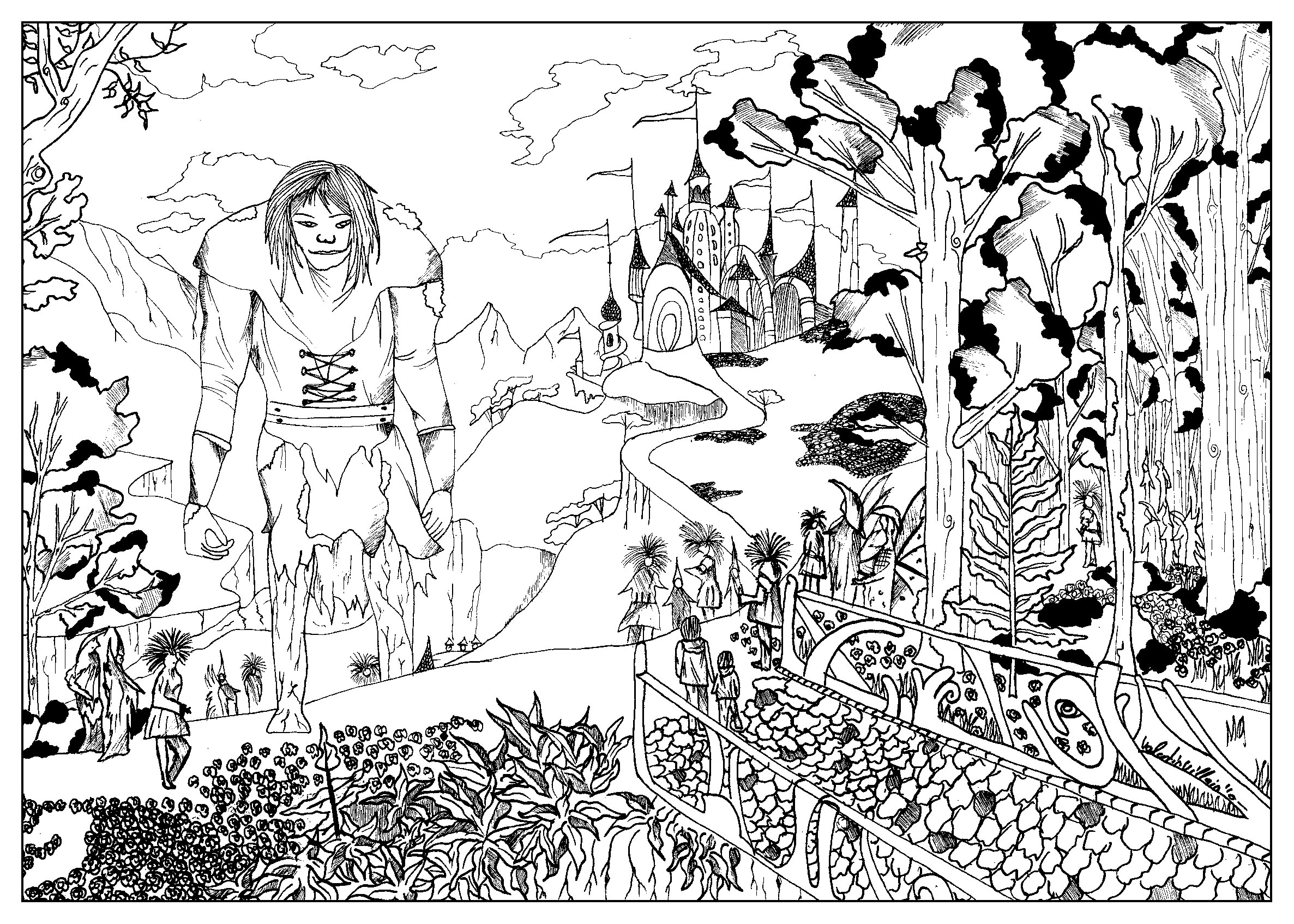 coloring page inspired by the movie bridge to terabithia with a giant a castle and a mysterious forest