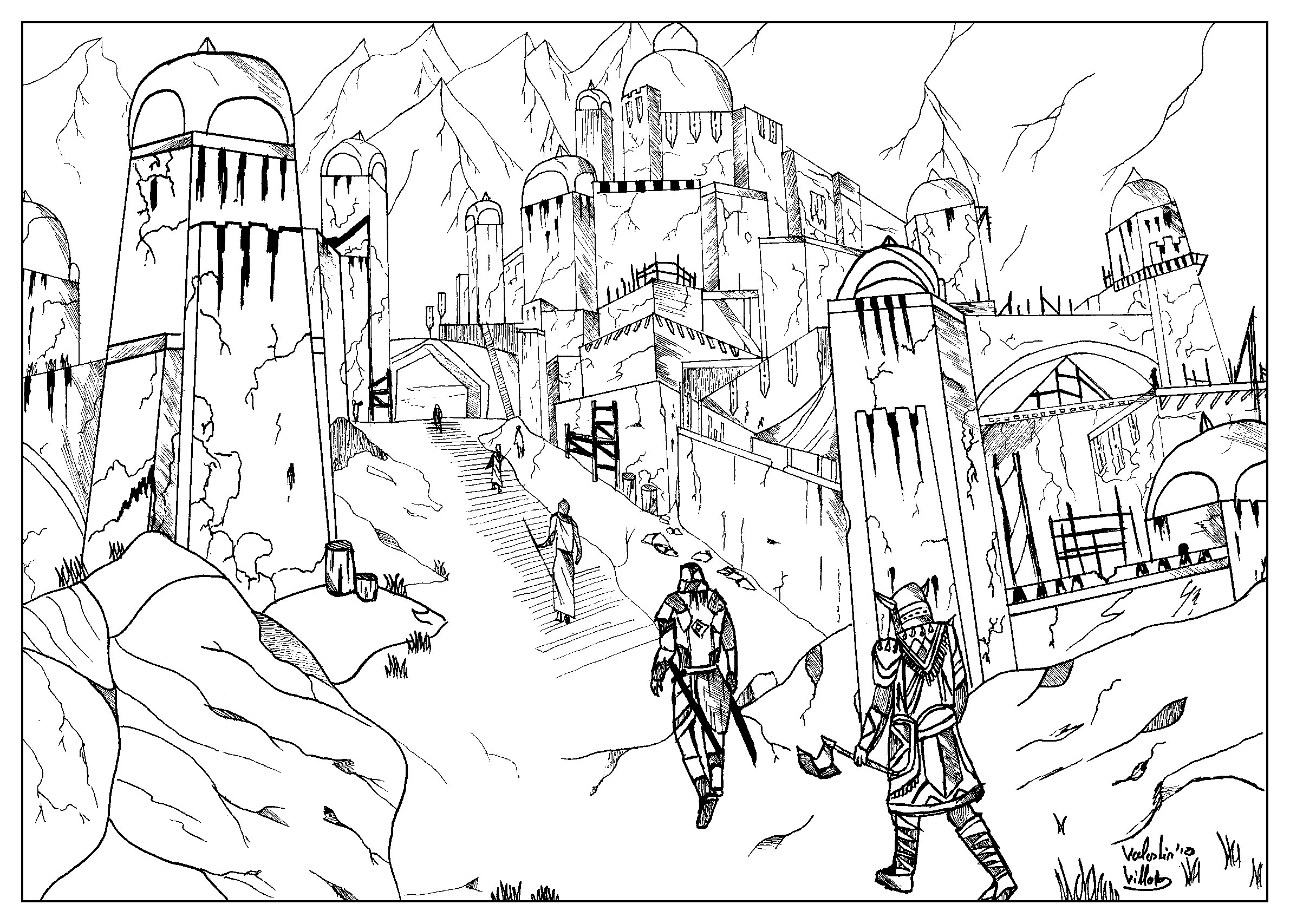 coloring page inspired by the video games the elder scroll online from the gallery