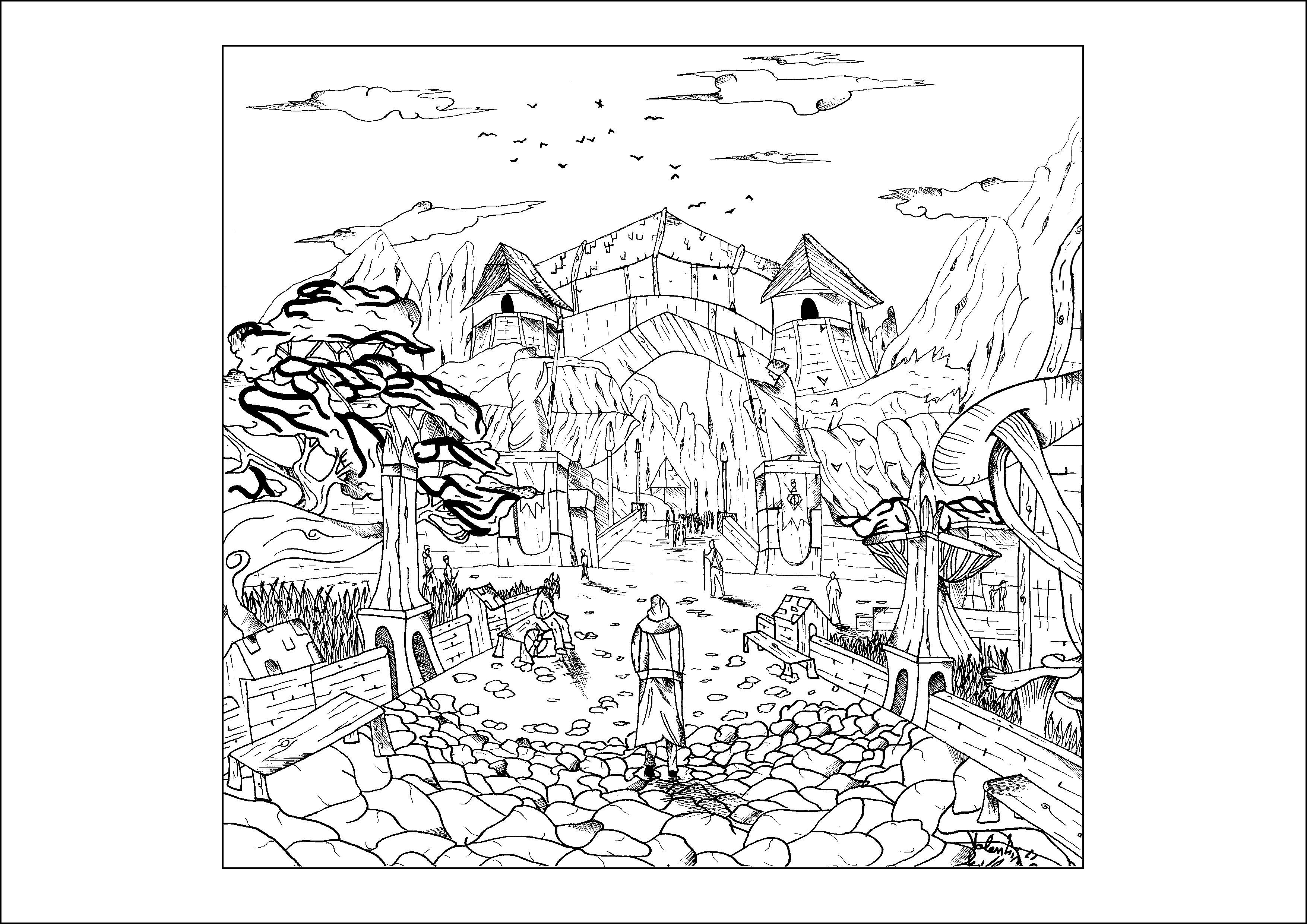 Landscape By Valentin Myths Legends Adult Coloring Pages