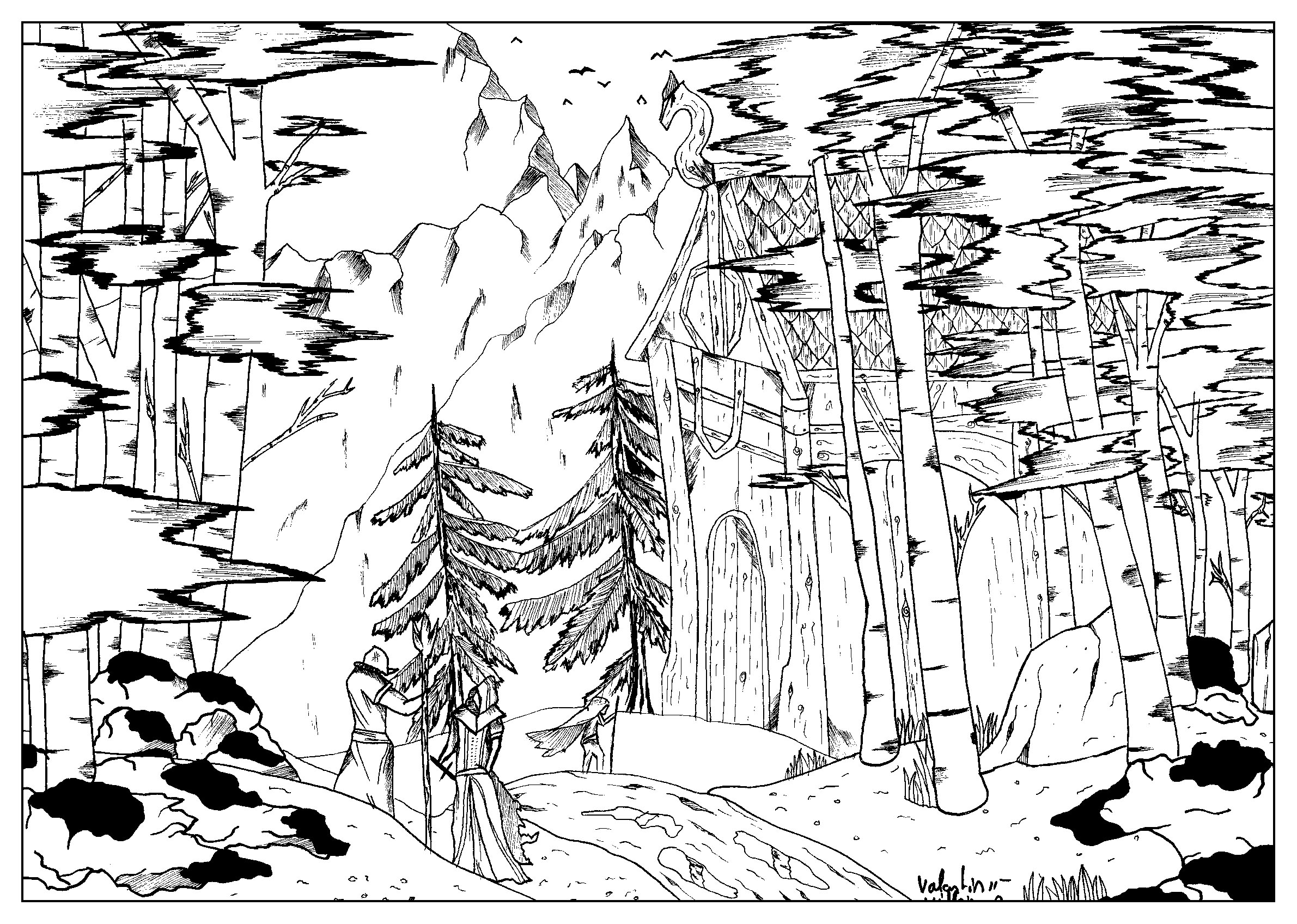 A coloring page with a viking house hidden in the forest