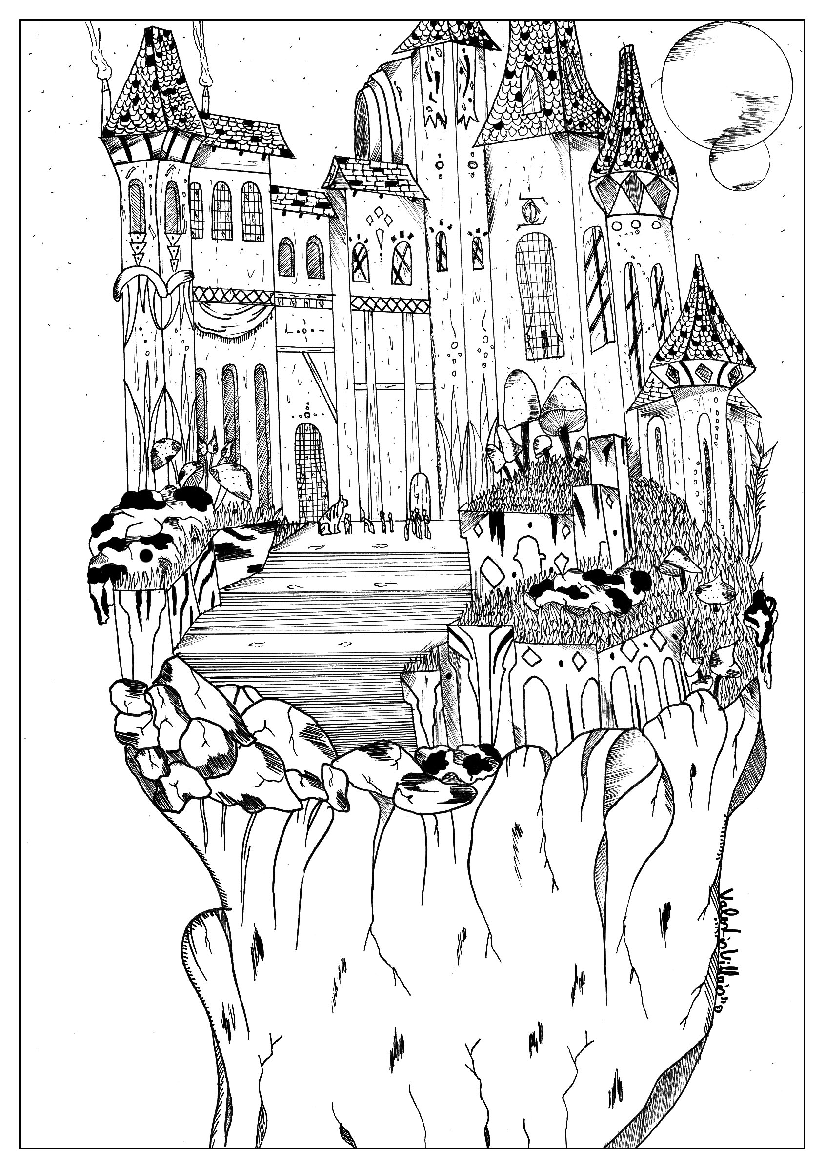 Coloring Page Landscape By Valentin A Castle In The Mountains