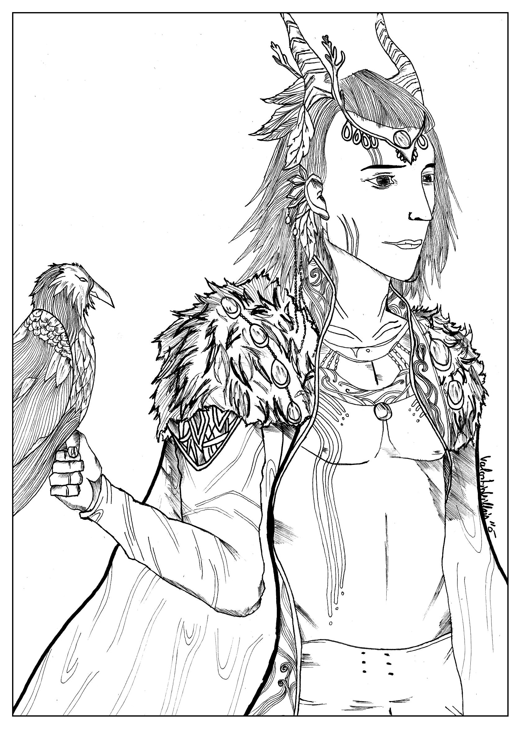 coloring page of a falconer elf