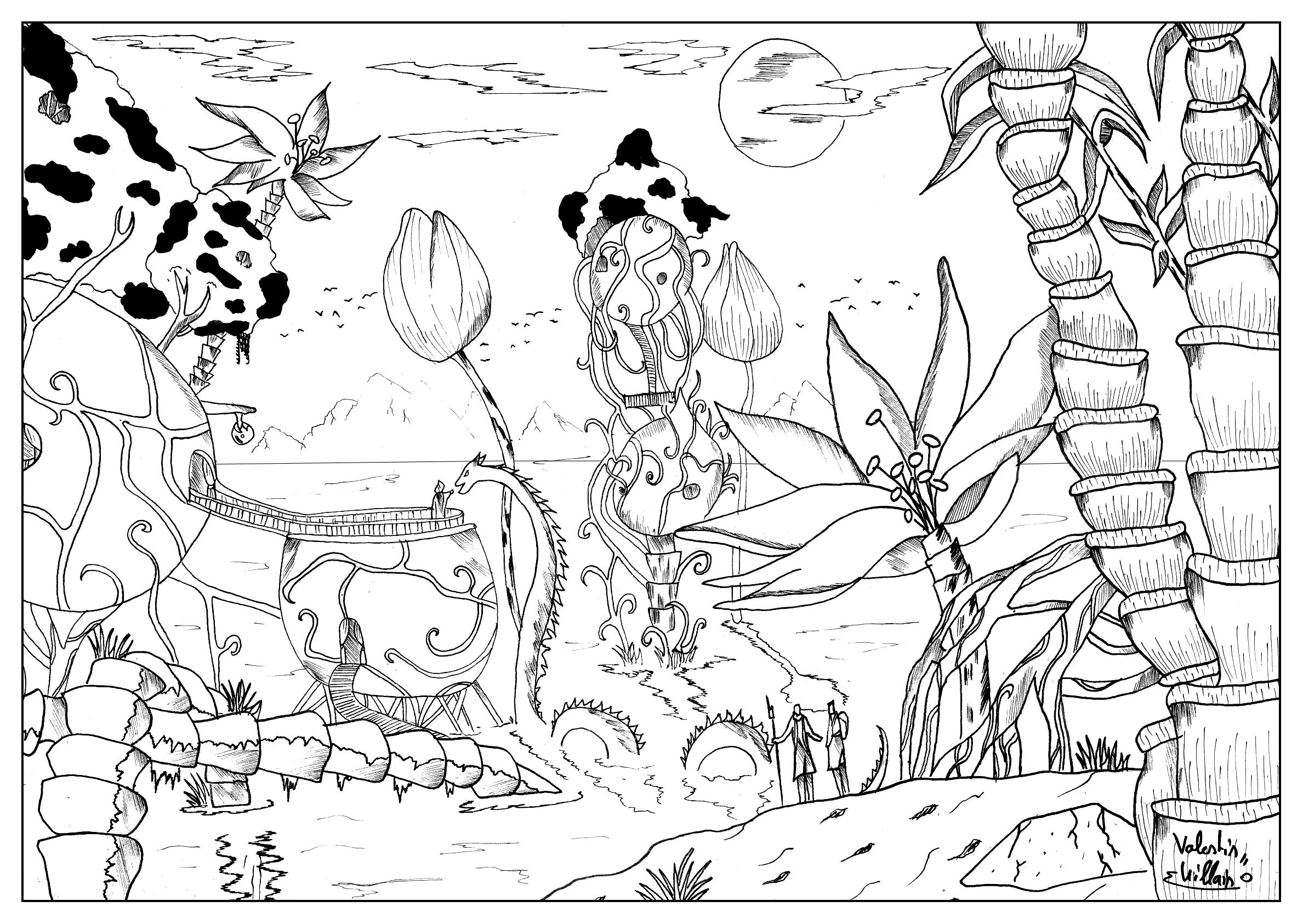 Coloring Page Landscape - Coloring page of an imaginary aquatic village with a strange creature and a mysterious character