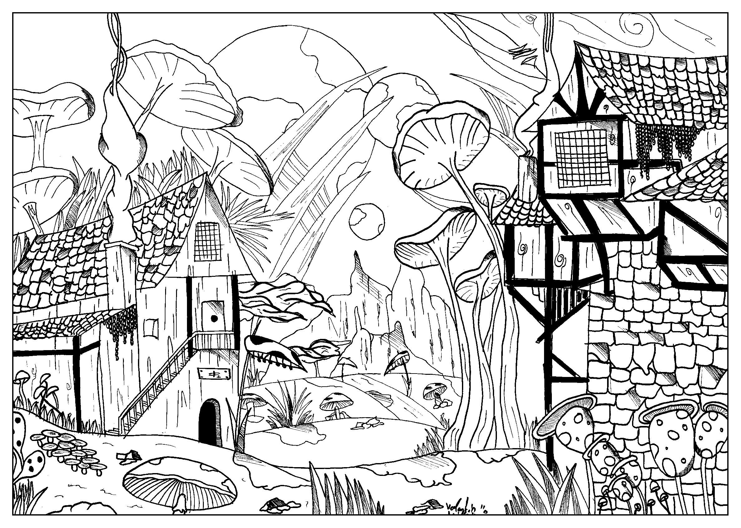 Coloring Page Landscape - Coloring of a small village with giant mushrooms from the gallery myths legends