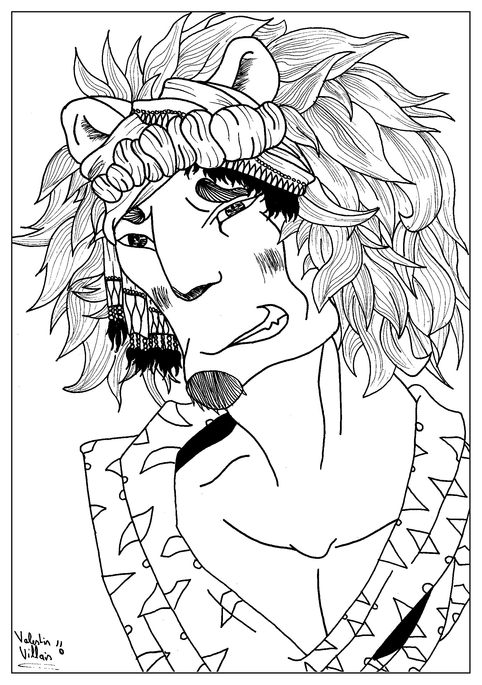 Coloring page of a lion man