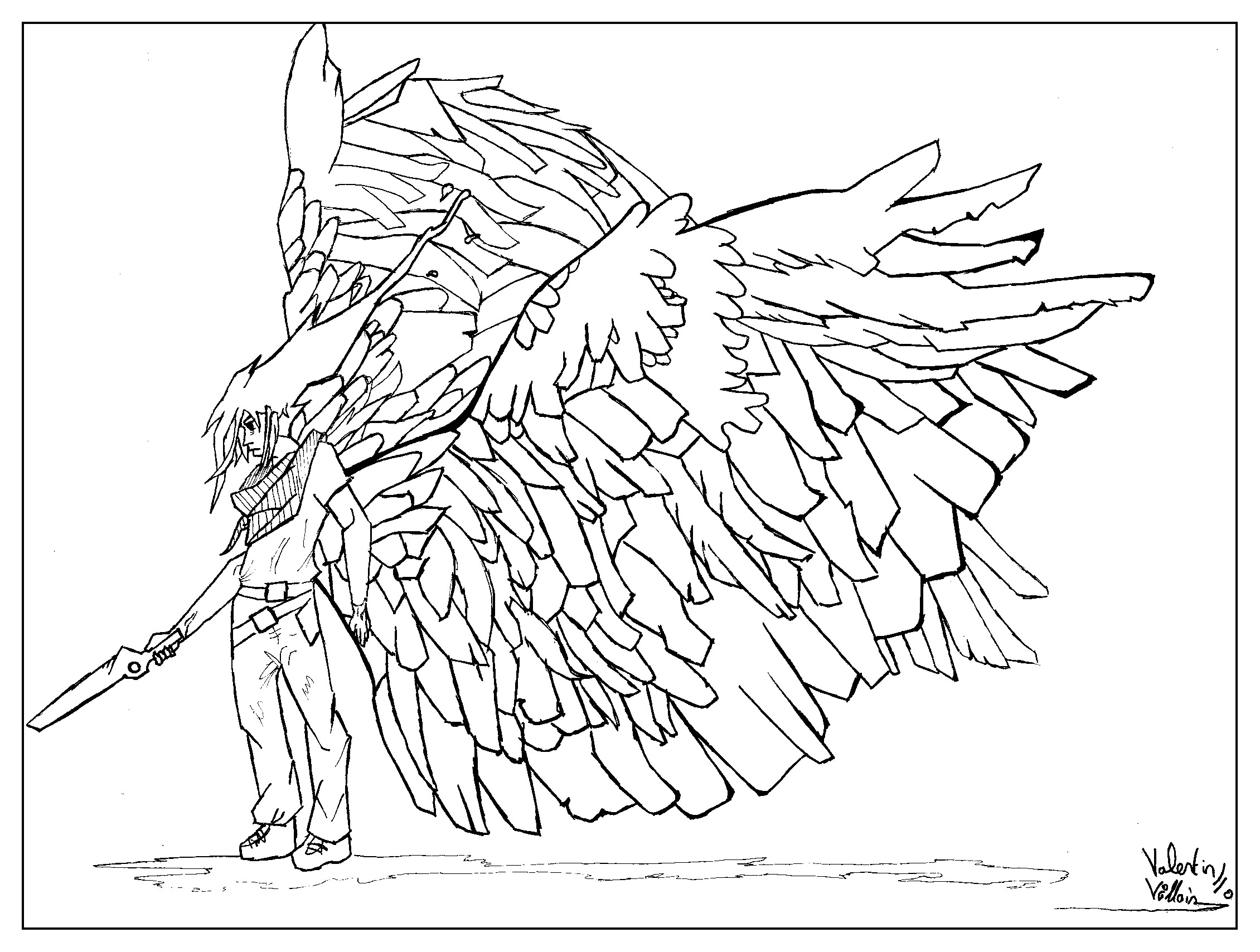 Coloring page adult draw Man wings by valentin