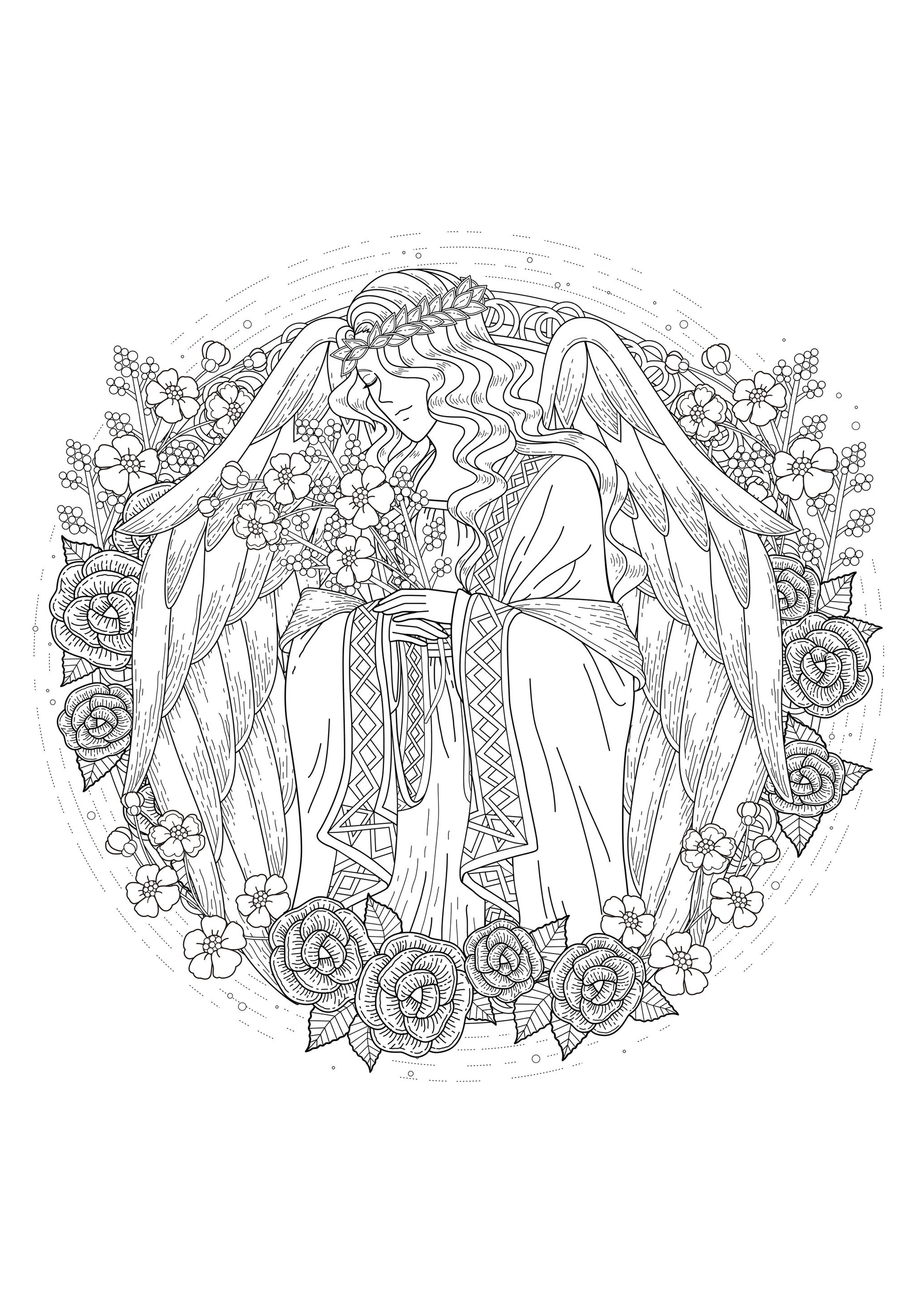 Angel Myths Amp Legends Adult Coloring Pages