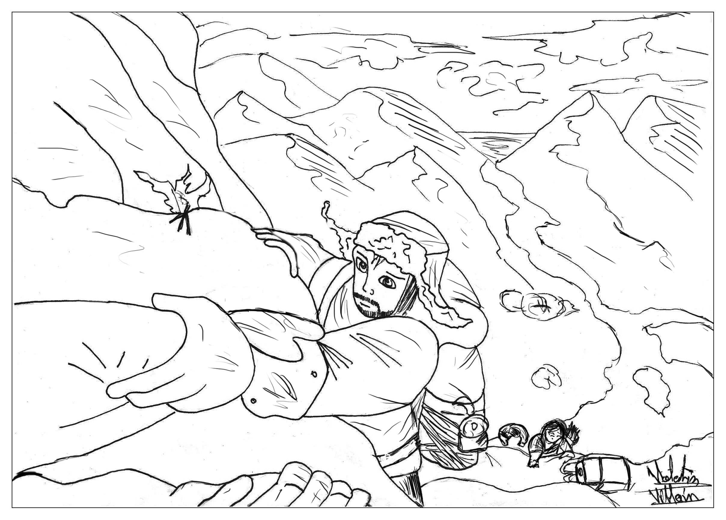 a coloring page inspired by the hobbit the moment in the mountain from the