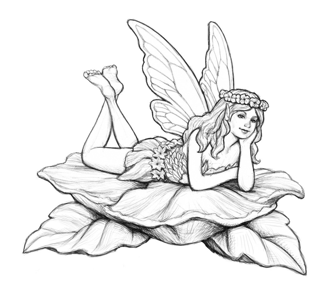 Coloring page fairy on leaves