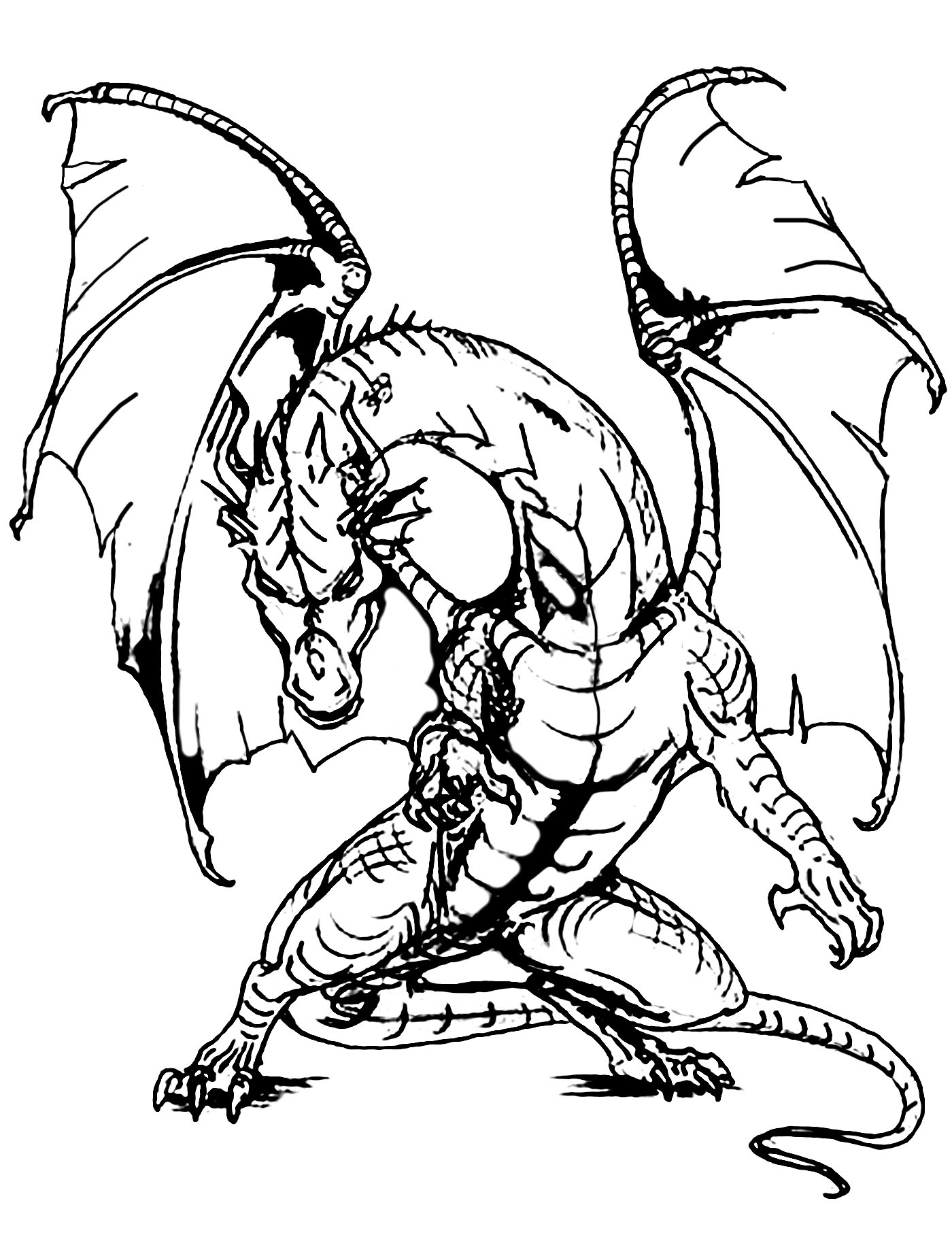 coloring page giant dragon impressive and scary dragon