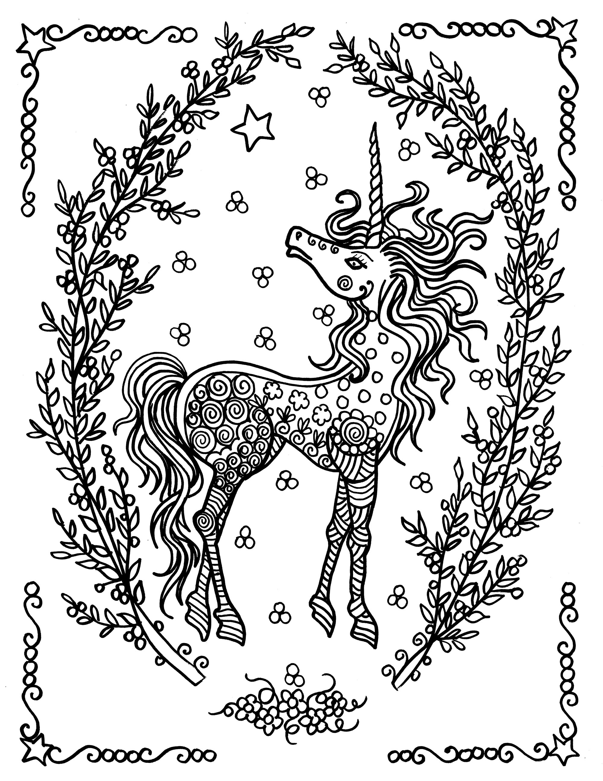 Coloring Pages For Adults Unicorns - Coloring page unicorn by deborah muller free to print