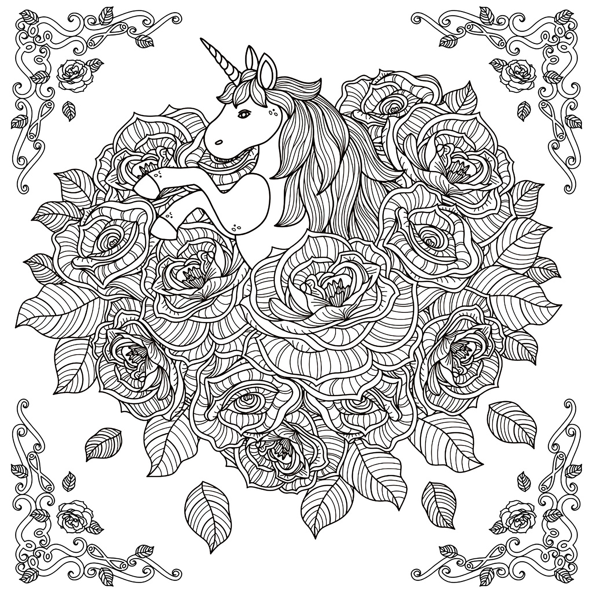Coloring Pages For Adults Unicorns - Black and white pattern for coloring book for adults with adorable unicorn and roses background