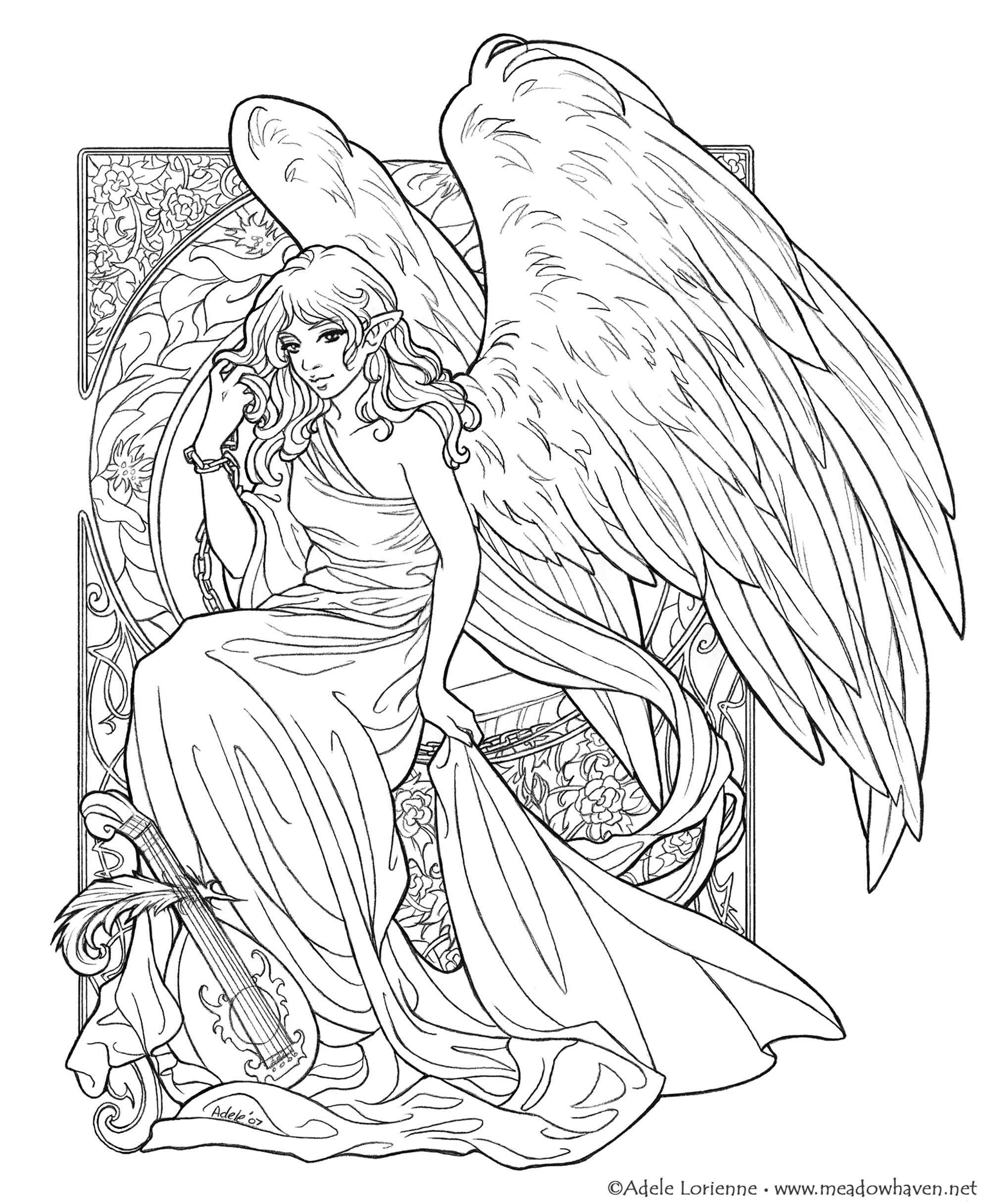 This wings girl is going to be your muse during this coloring !