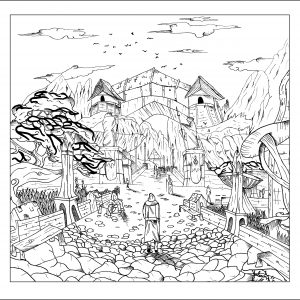 Coloring Page Adult Landscape By Valentin