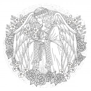 coloring page adults angel free to print