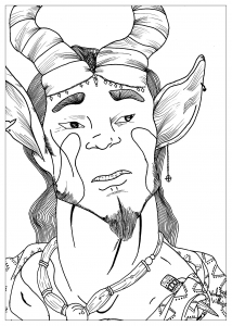 Coloring page adult draw satyre by valentin