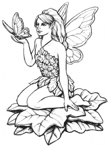coloring page fairy and butterfly