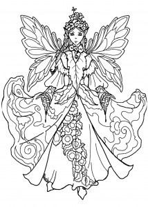coloring page fairy with impressive dress - Fantasy Coloring Pages Adults