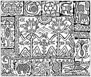 coloring page inspired by shamanism