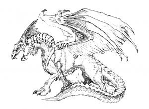 coloring page scary dragon