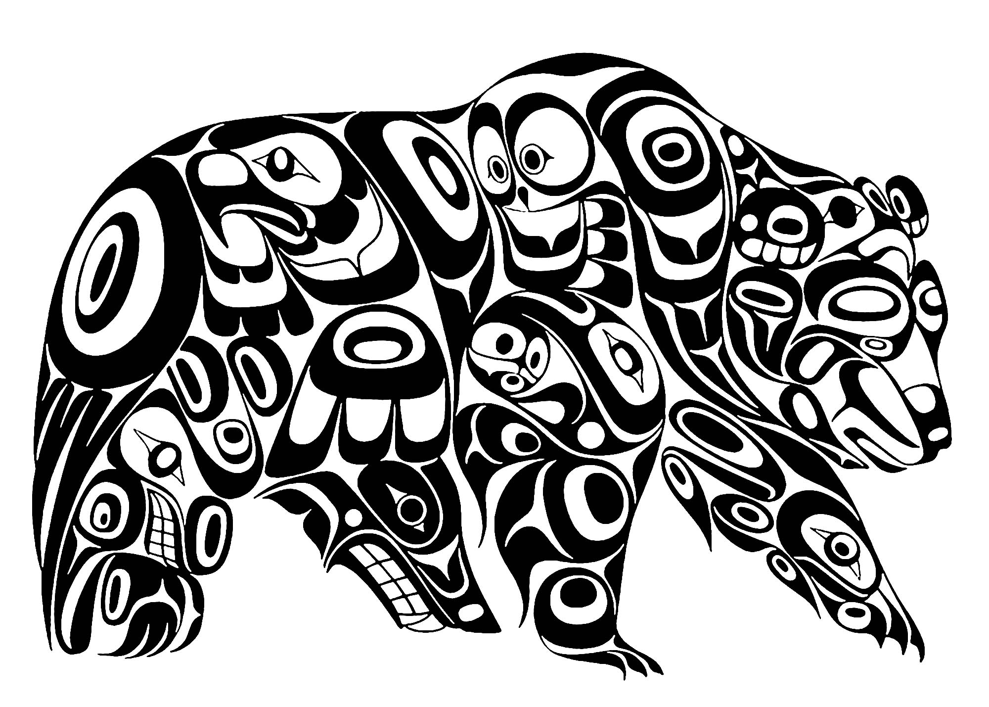 Art northwest coastal people grizzly - Native American Art Adult ...