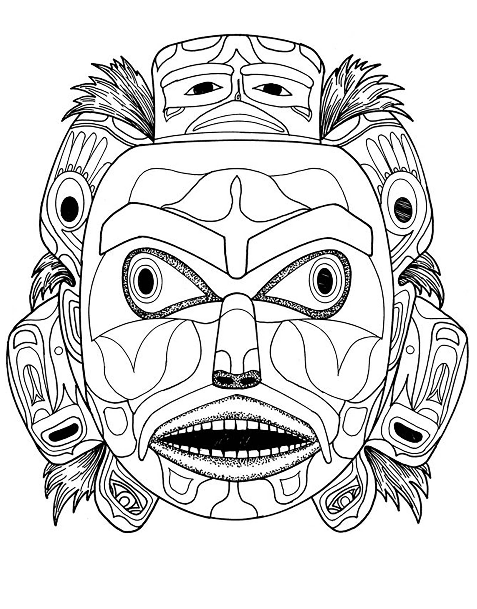 kwakiutl bear spirit mask native american art coloring pages
