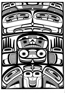 Coloring art northwest coastal people raven