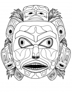 Coloring kwakiutl bear spirit mask