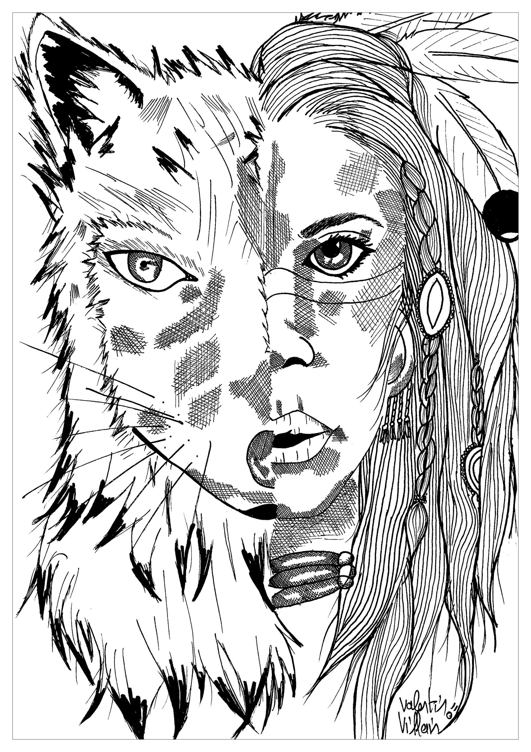 coloring of an indian and a wolf - Native American Coloring Pages