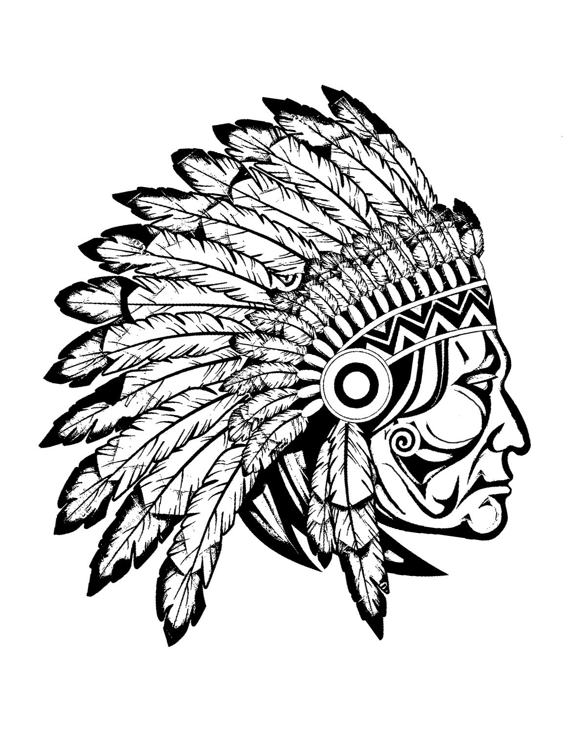 profile view drawing of a great indian chief from the gallery native - Native American Coloring Pages
