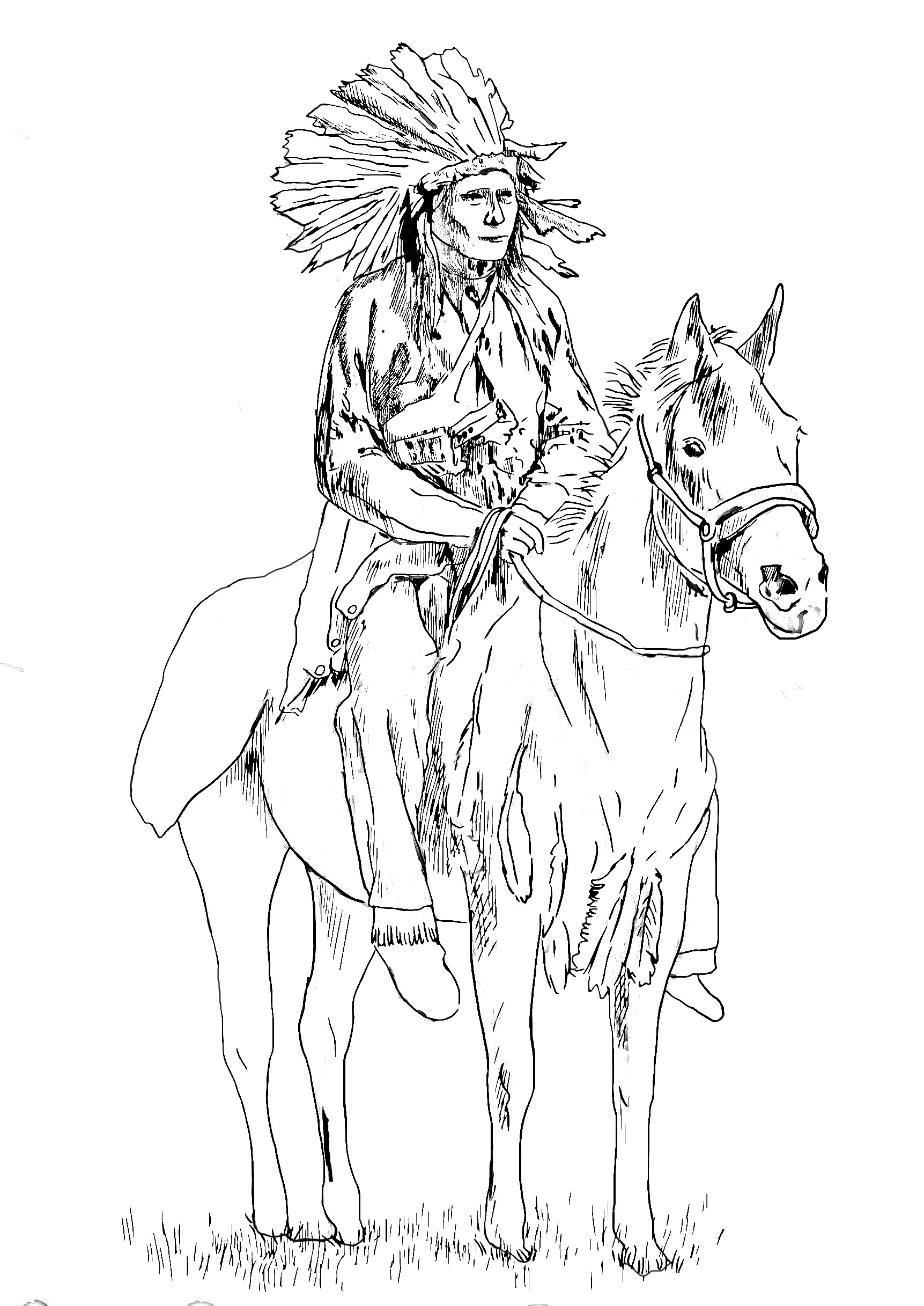 Native american on his horse native american adult for Native american printable coloring pages