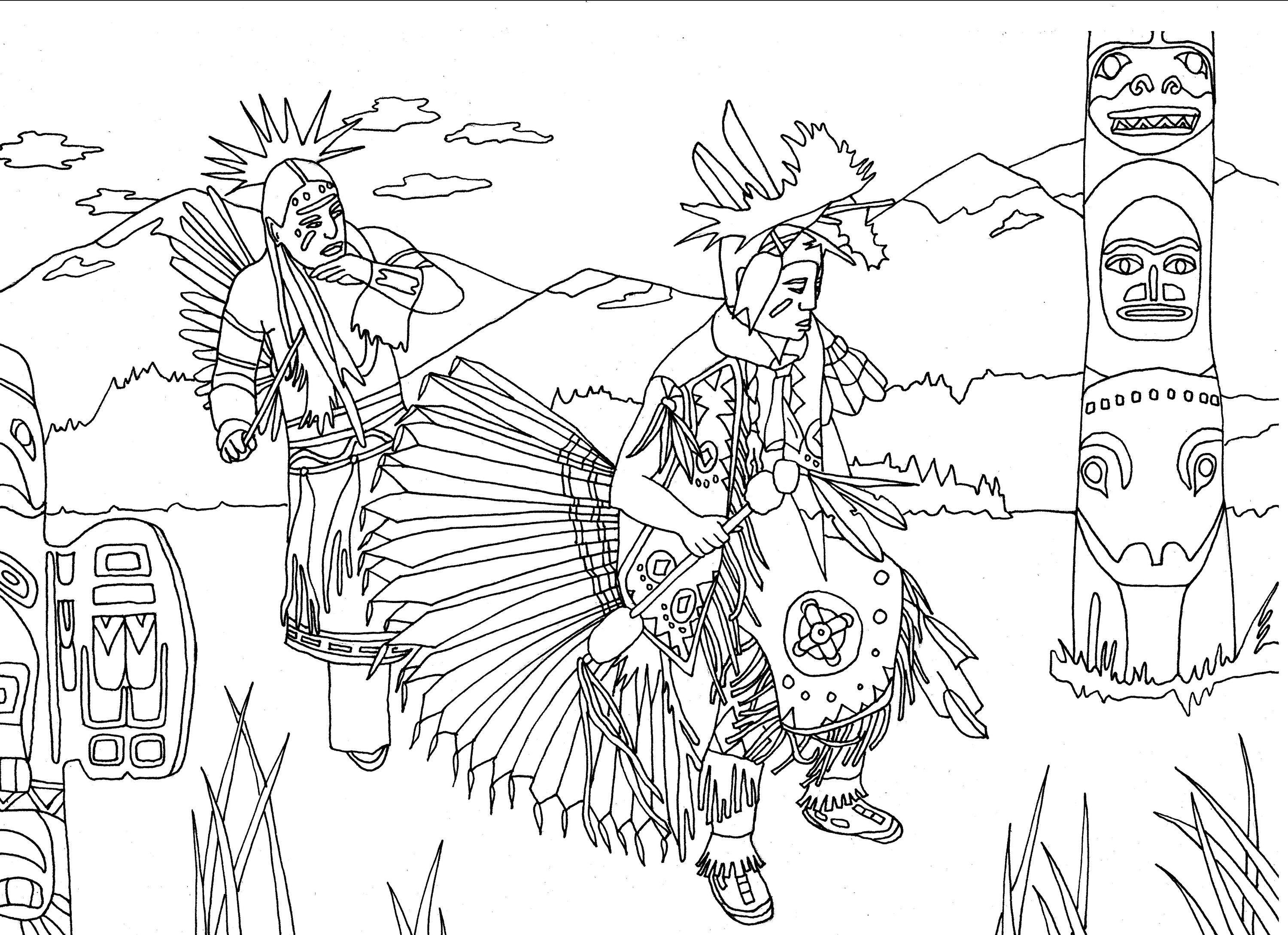 native americans dancing next to a totem - Native American Coloring Pages