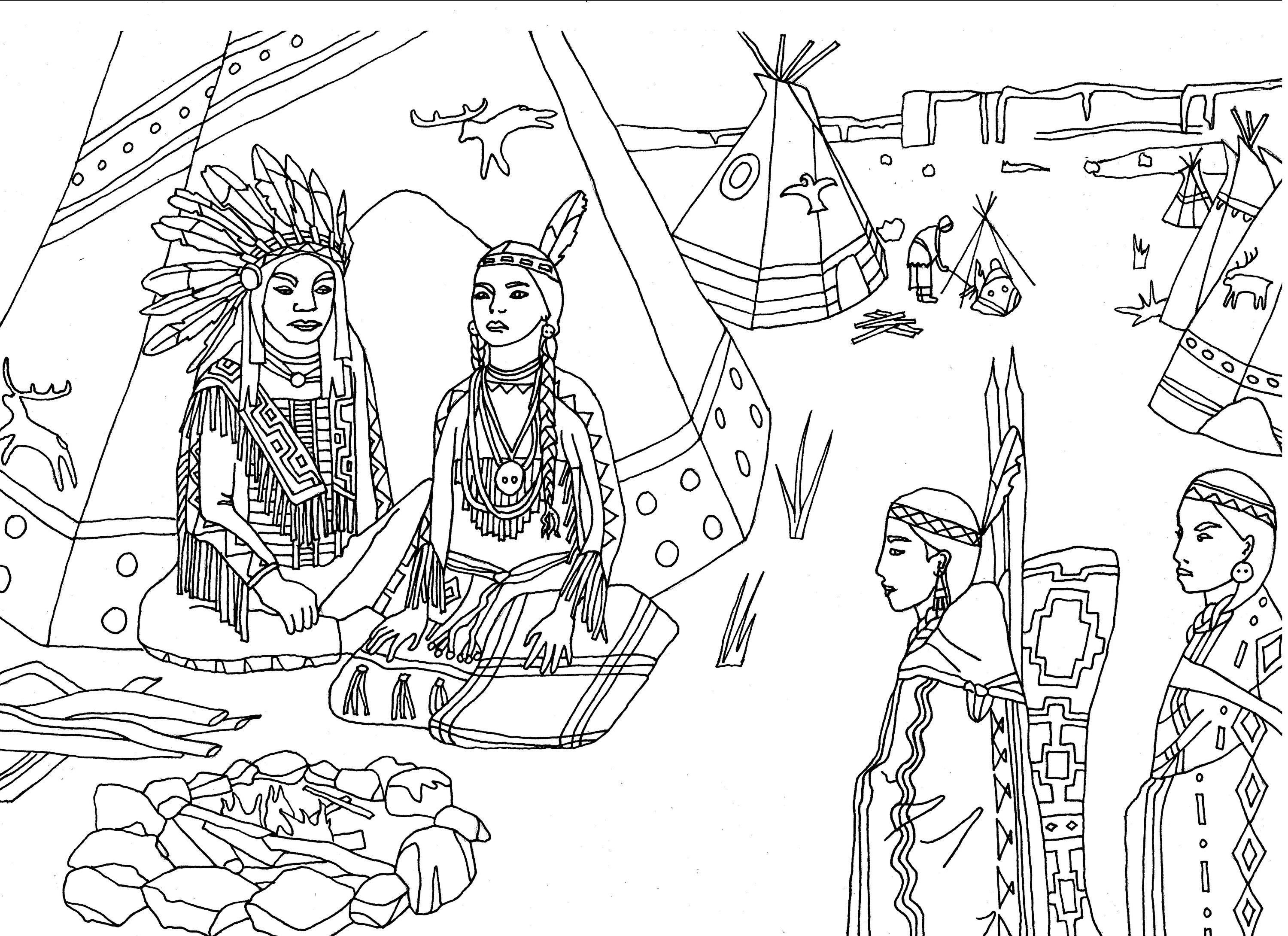 Native americans indians sat front of tipi - Native American Adult ...