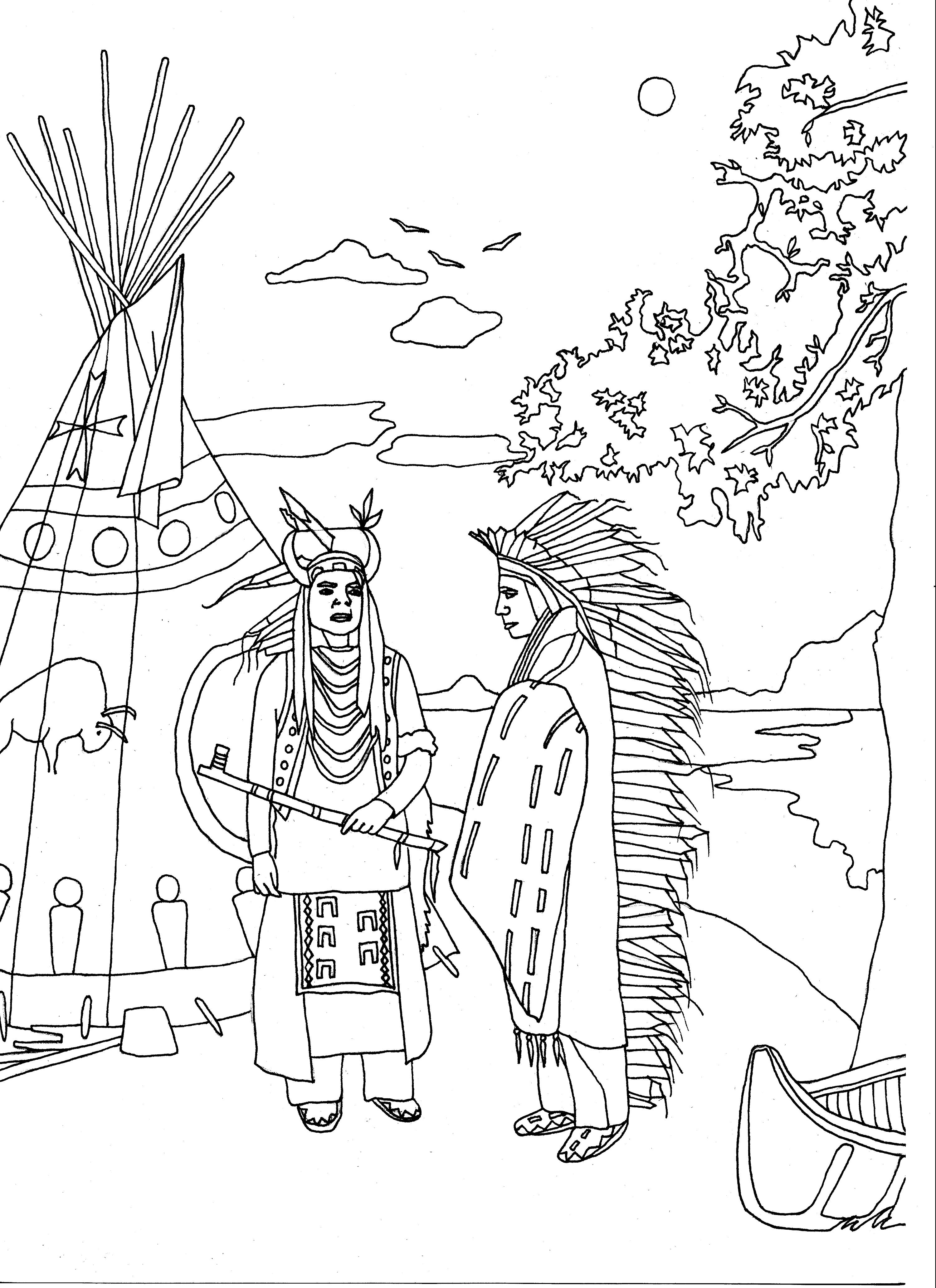 Exclusive coloring page of Two Native Americans in traditional dress in front of a tipi