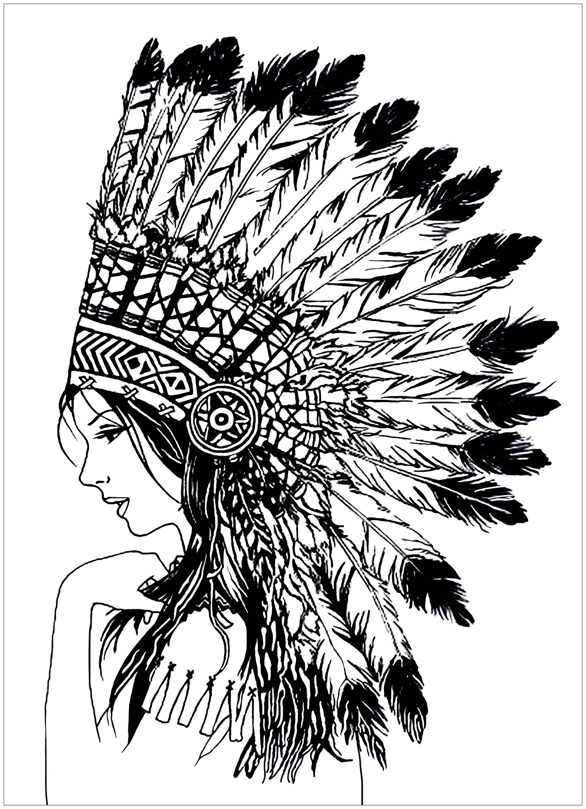 Beautiful Indian woman (Native American), with headdress with giant feathers
