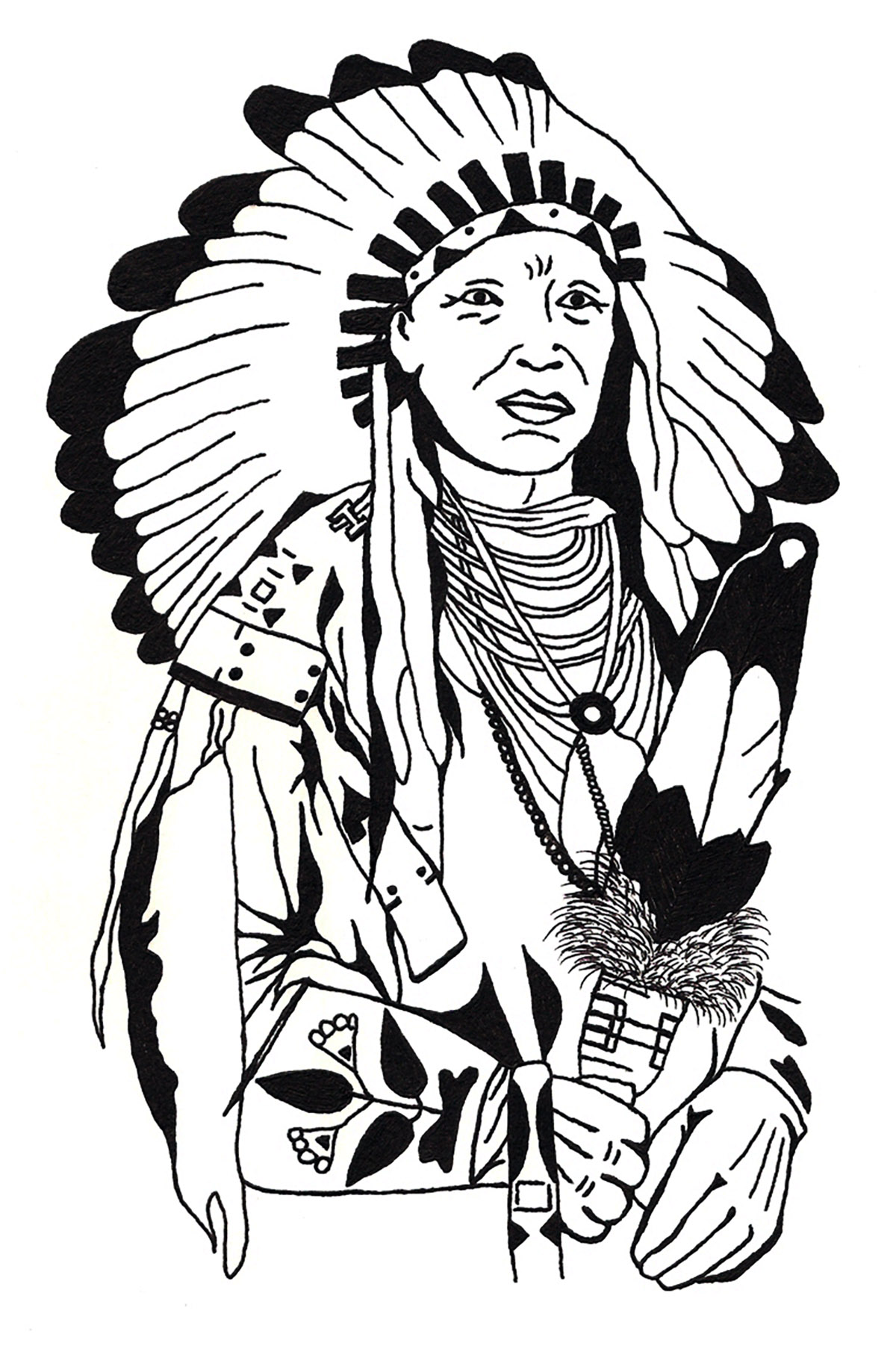 coloring drawing native american free to print