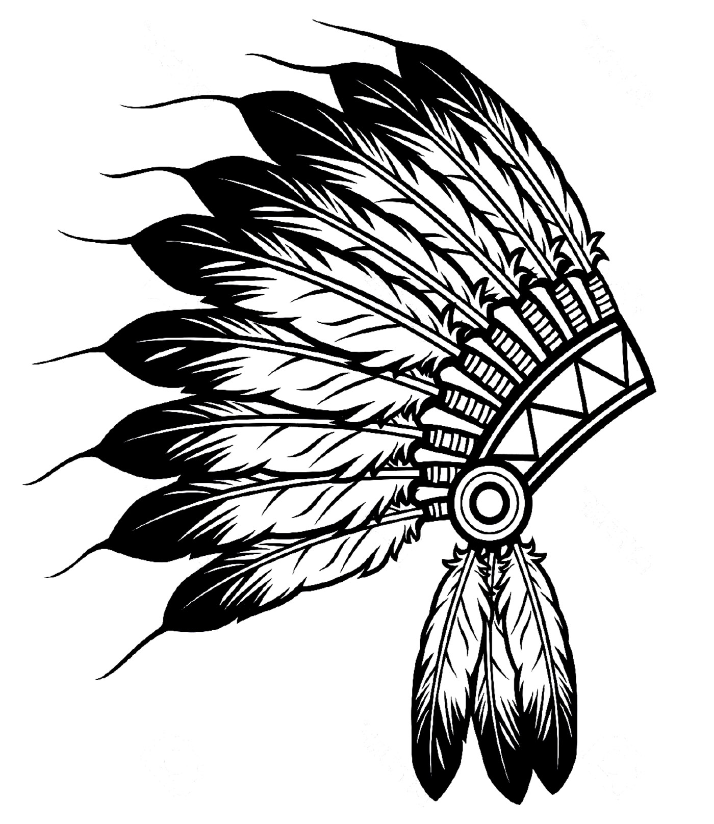 the indian feather hat from the gallery native americans - Native American Coloring Pages