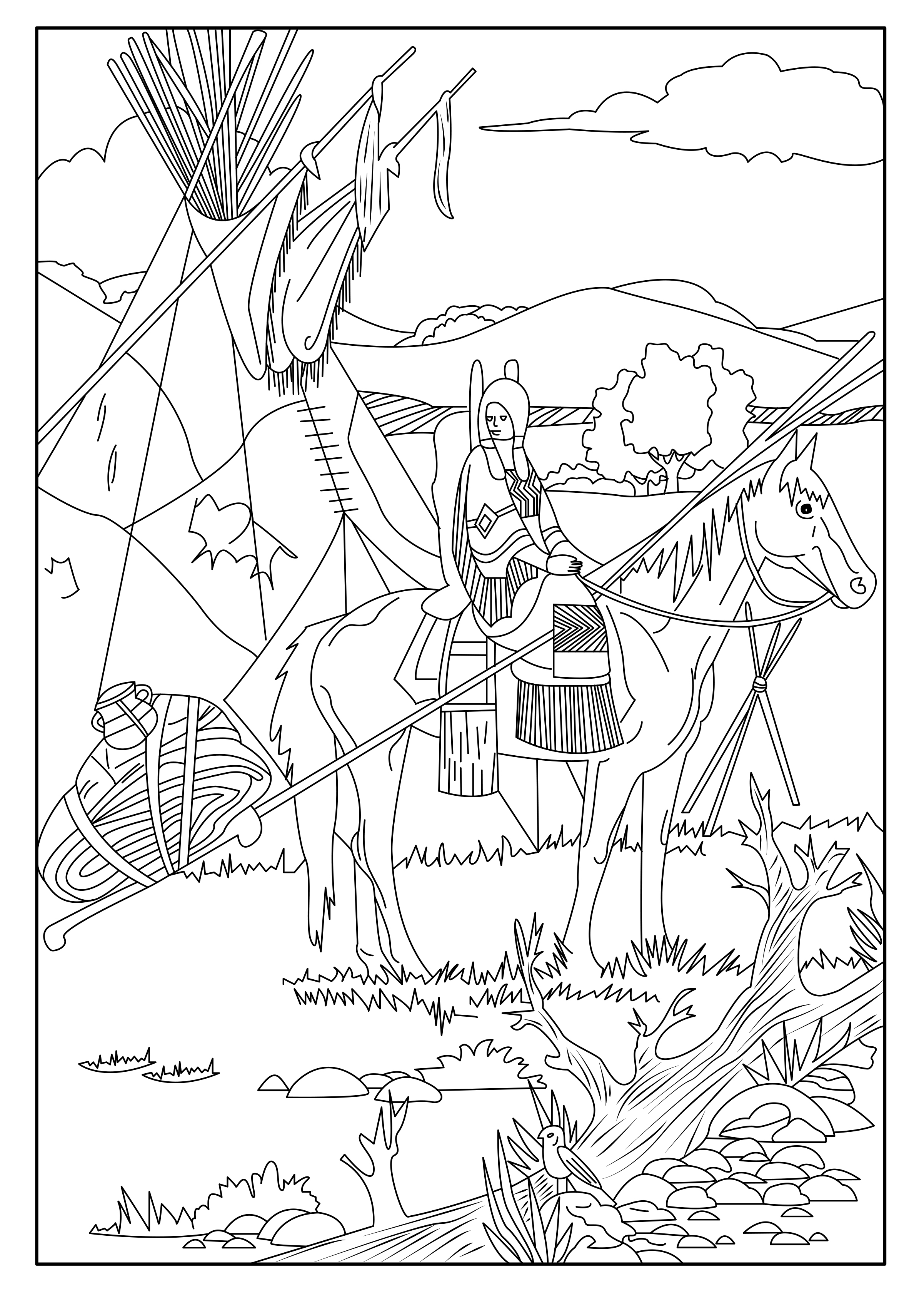 This coloring page show a Native American on his horse.