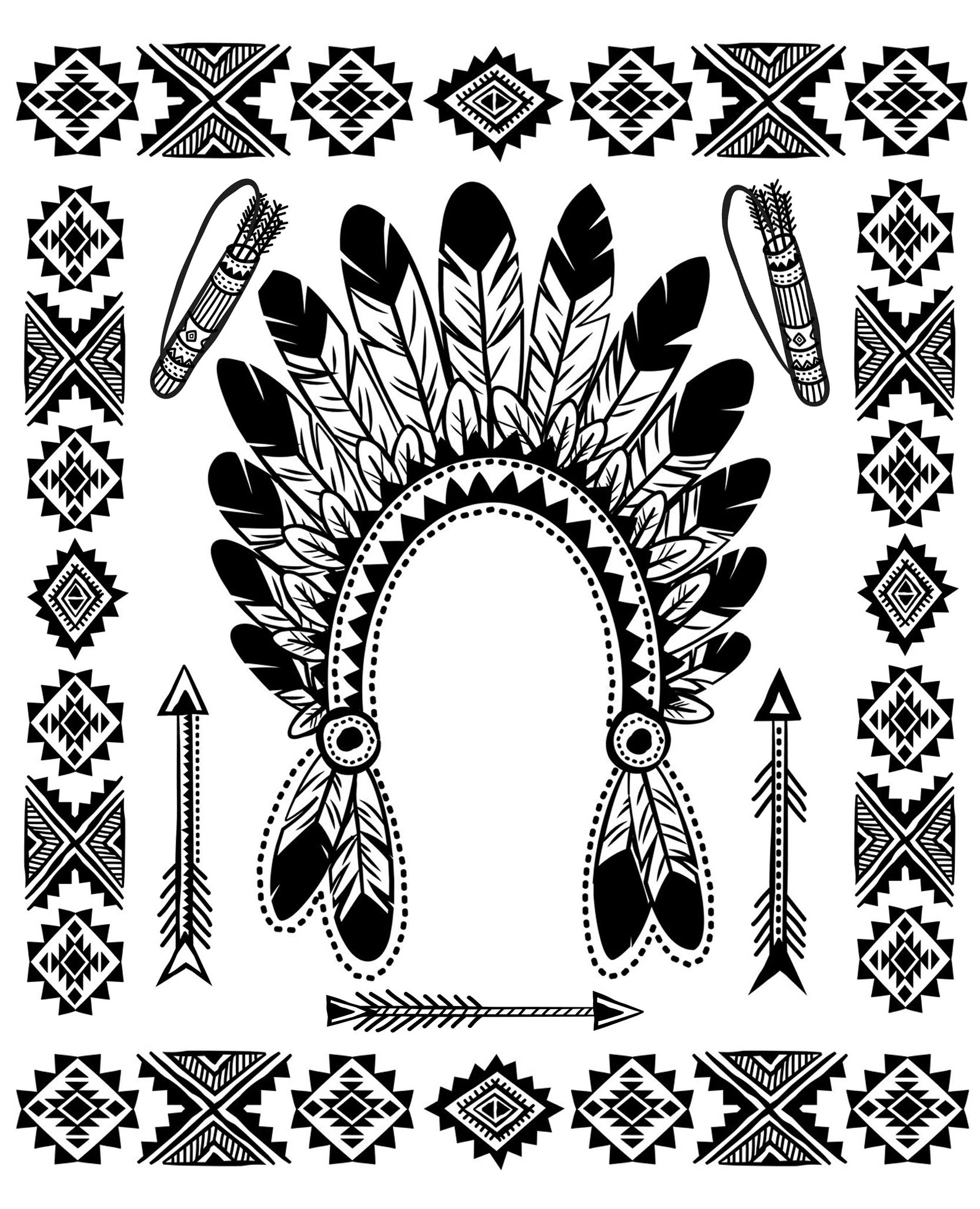 coloring page with native american indian chief headdress and other traditional objects - Native American Coloring Pages