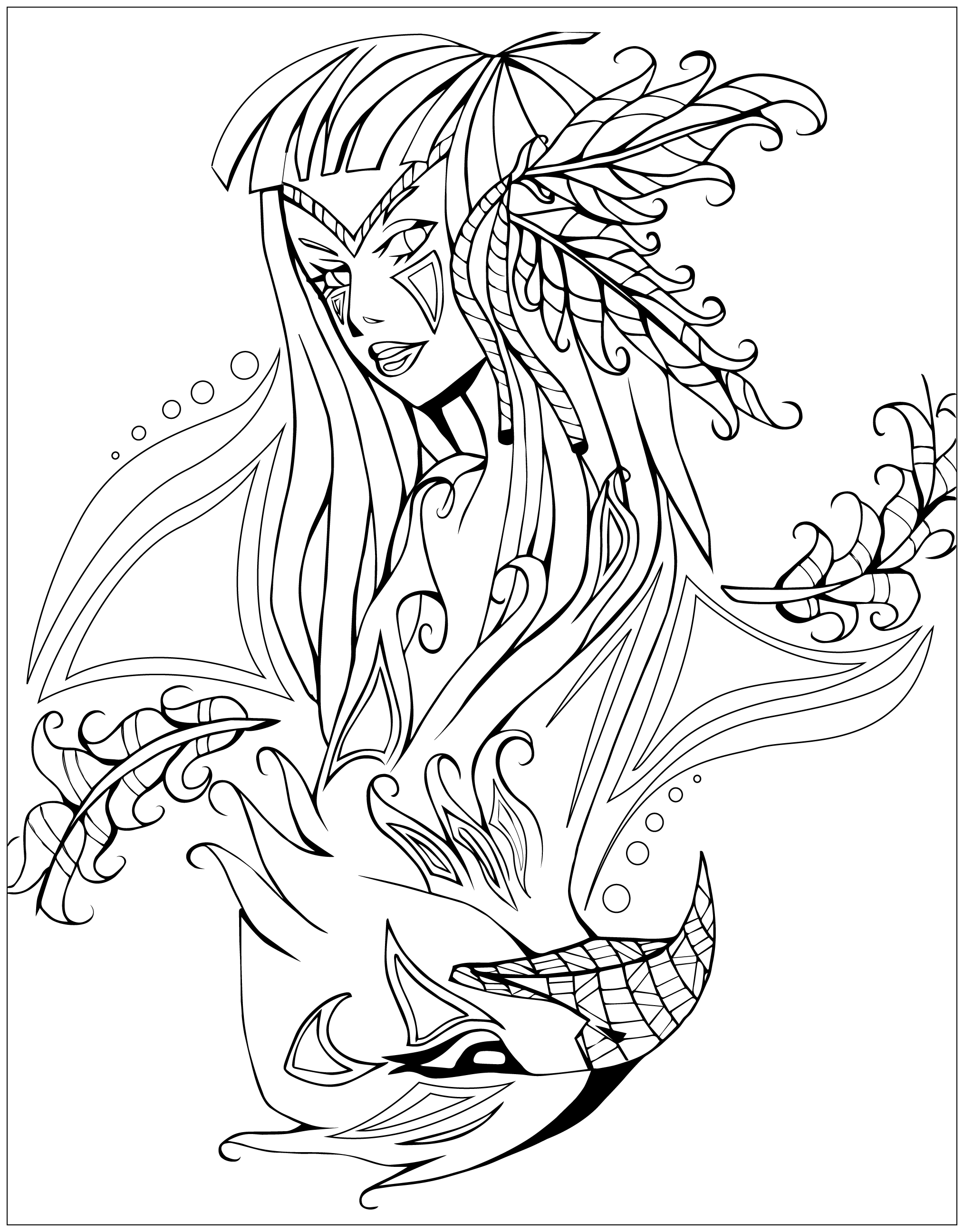 Coloring page native american indian savage spirit