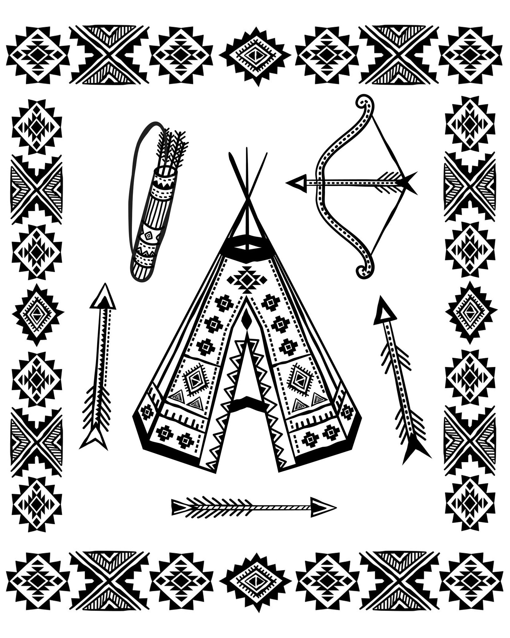 Coloring page with a Tipi and other symbols