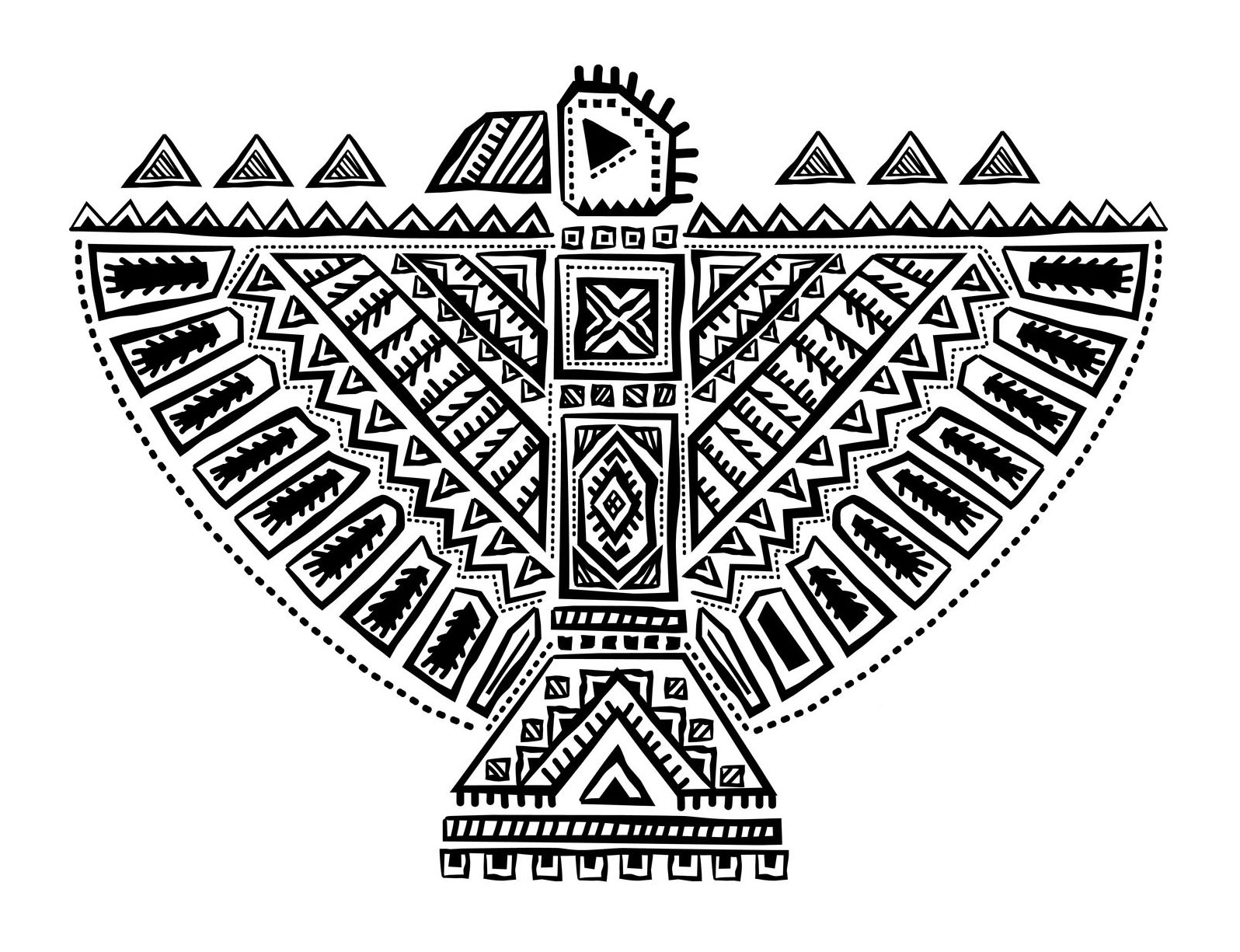 beautiful native american totem inspired by eagle - Native American Coloring Pages