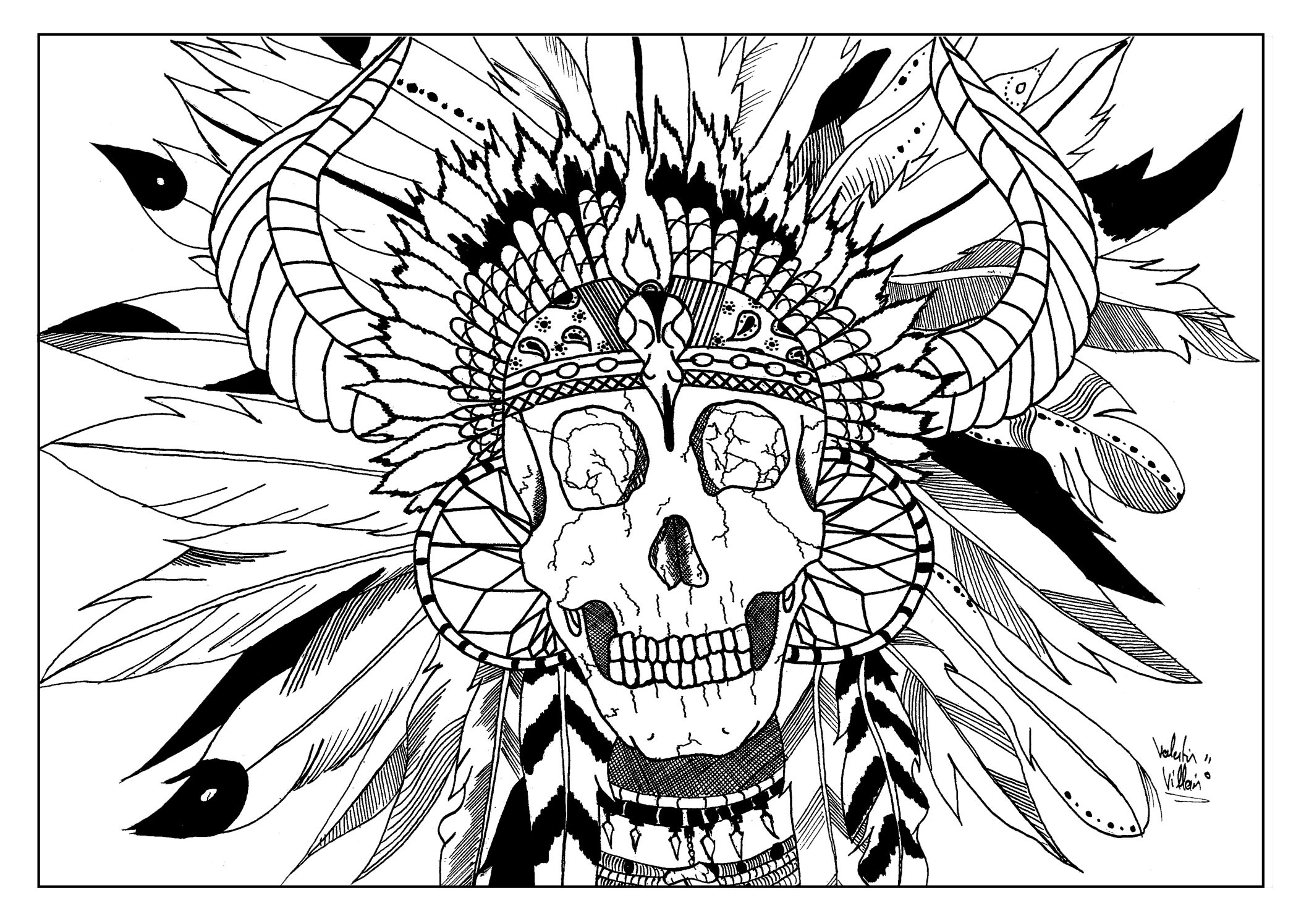 Coloring page of a native american skull with a headdress waiting to be colored