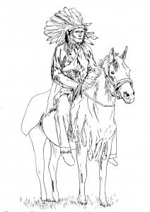 Coloring adult native american on his horse