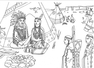 Coloring adult native americans indians sat front of tipi by marion c