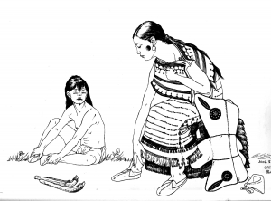 Coloring adult native indian and child