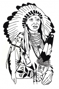 Coloring drawing native american