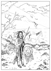 coloring page adult draw native american by valentin indian chief and his horses - Native American Coloring Pages